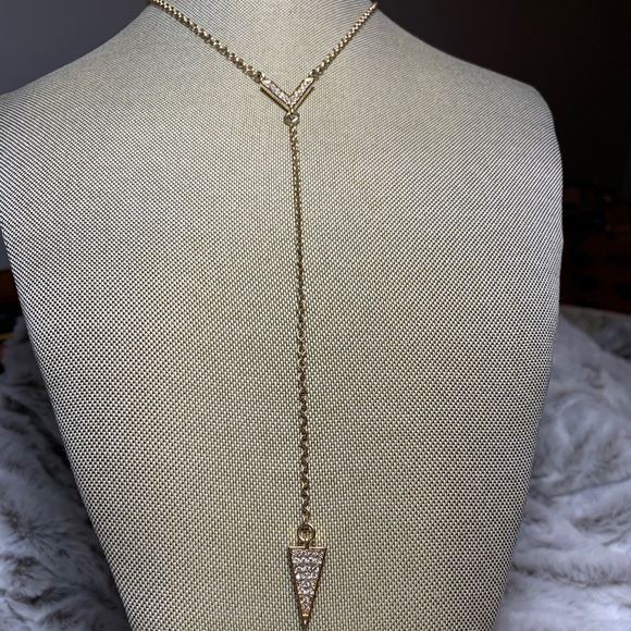 Banana Republic Jewelry - Banana Republic Gold Pave Y Lariat Necklace